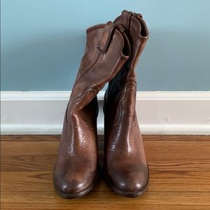 New - Lucky Brand Block Heel Leather Cowboy Boots